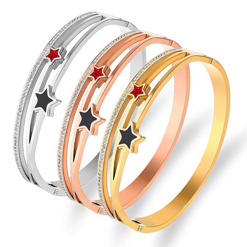 women bangle Korean fashion versatile stainless steel jewelry star crossed diamond bracelet wholesale of handrings womens bracelets 1321 Q2