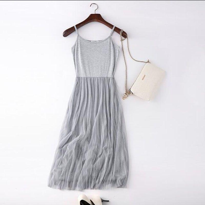 Wome 드레스 섹시한 스파게티 스트랩 패치 워크 메쉬 드레스 봄 여름 거즈 레이스 탱크 캐주얼 Pleated 파티 드레스 Vestidos LM22
