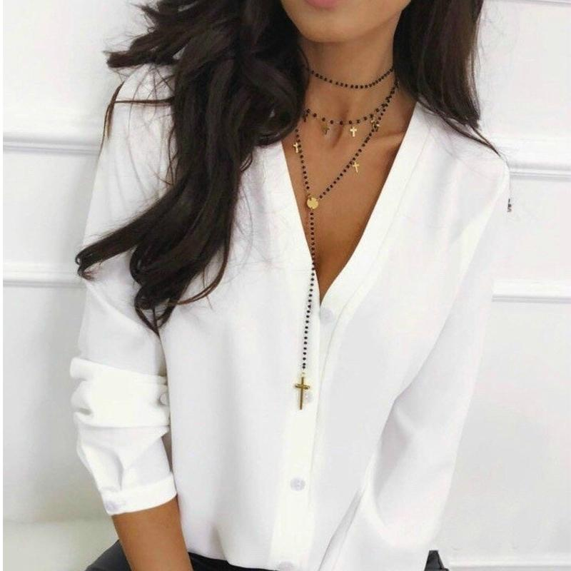 Women Office Lady Button Tops and Blouse Long Sleeve Sexy V neck Solid Casual Shirt Autumn New Fashion Women Tops 210412