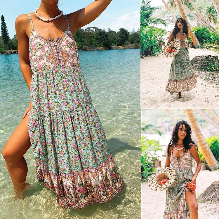 [] 2021 Vestidos casuales Bohemio Largo Suspender Floral High Cintura