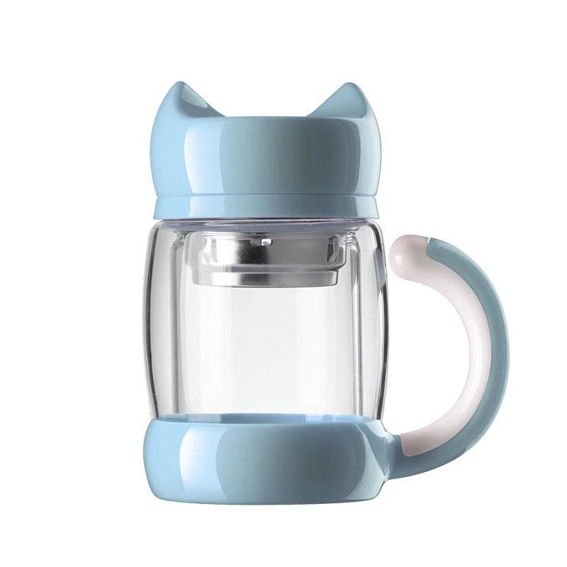 Carino bottiglia di acqua di vetro a forma di gatto con il tè infusore filtro filtro doppia parete a prova di calore tazza da ufficio a prova di calore BPA