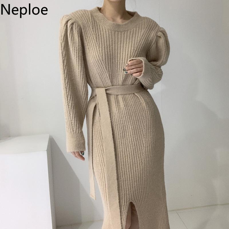 Neploe Eleganr Örgü Elbise Kadın Kore Chic Robe Kış Giysileri Mizaç Puf Kollu Dantel Yukarı Vestidos Bölünmüş Maxi Elbiseler Rahat