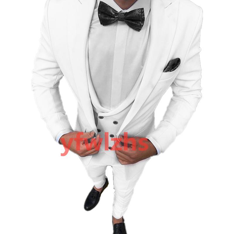 Customize tuxedo One Button Handsome Peak Lapel Groom Tuxedos Men Suits Wedding/Prom/Dinner Man Blazer(Jacket+Pants+Tie+Vest) W963