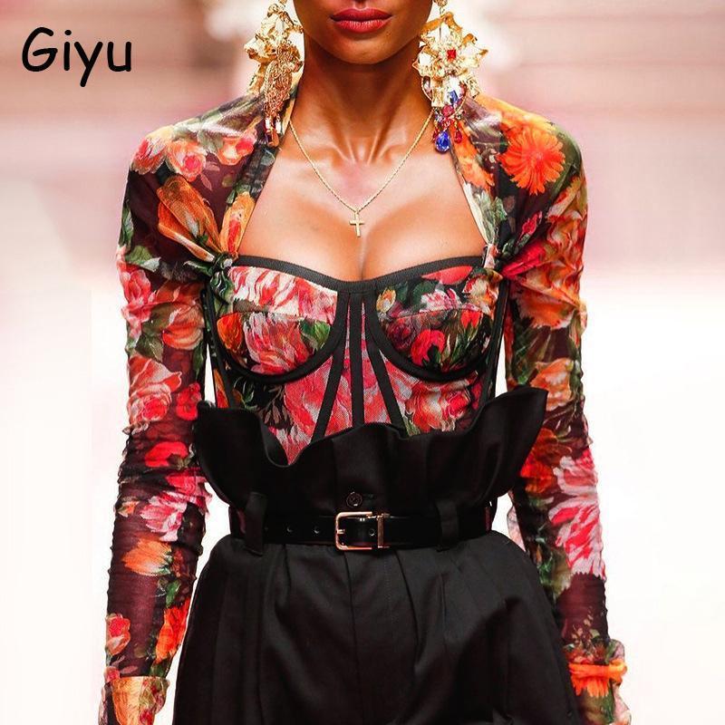 Giyu flaral طباعة بلوزة المرأة مثير مربع الرقبة blusas طويلة الأكمام قميص 2021 الخريف خمر الملابس الأزياء عارضة قمم المرأة البلوزات