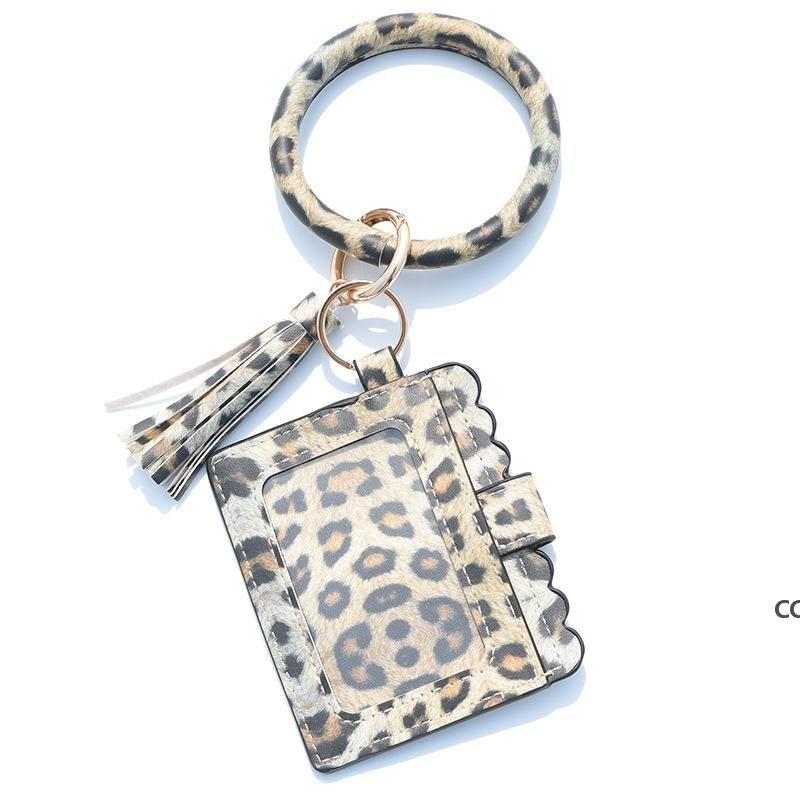Party Gifts Designer Bag Wallet Leopard Print PU Leather Bracelet Keychain Wallets Credit Card Tassels Key Ring Holder Wristlet DHD10373