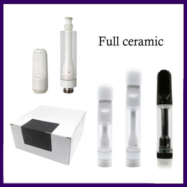 전체 세라믹 510 vape 카트리지 리드 무료 일회용 vape 펜 전자 담배 vape carts 포장 0.5 ml 0.8 ml 1ml 두꺼운 오일 원자 지어