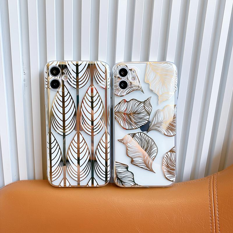 transparent TPU phone cases simplify leaves pattern electroplate for iPhone 12 11 pro promax X XS Max 7 8 Plus