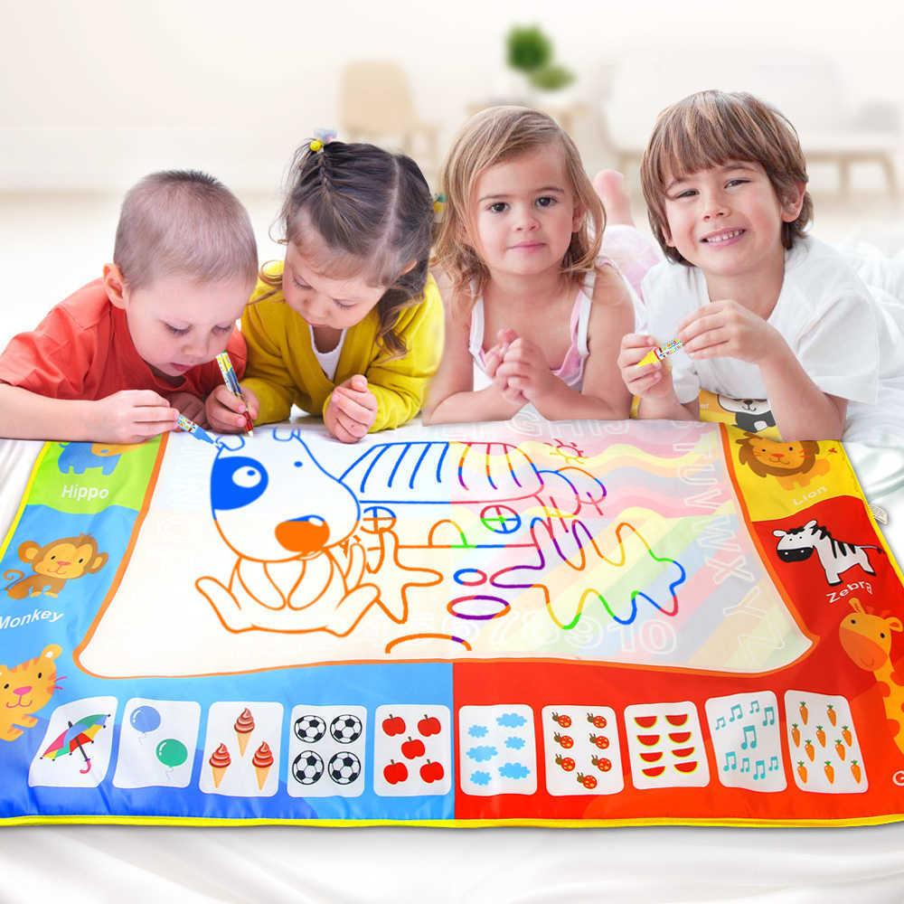 Big Size Water Draw Painting Mat Rug With Magic Pen Board Baby Carpet ColorTraining Educational Toys Gift For Kids