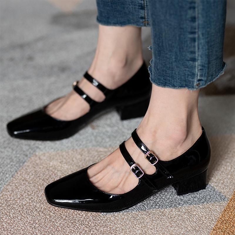 ربيع الخريف المرأة مزدوجة مشبك ماري جينس أحذية براءات جلدية اللباس عالية الكعب مضخات الرجعية السيدات حذاء أسود أحمر