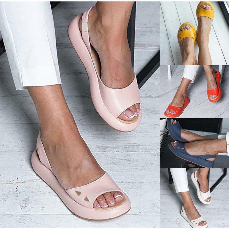 Women Sandals Peep Toe Rome Women's Flip Flops Slip On Shoes Woman Slides Flat Platform Casual Female Candy Color Summer 2021