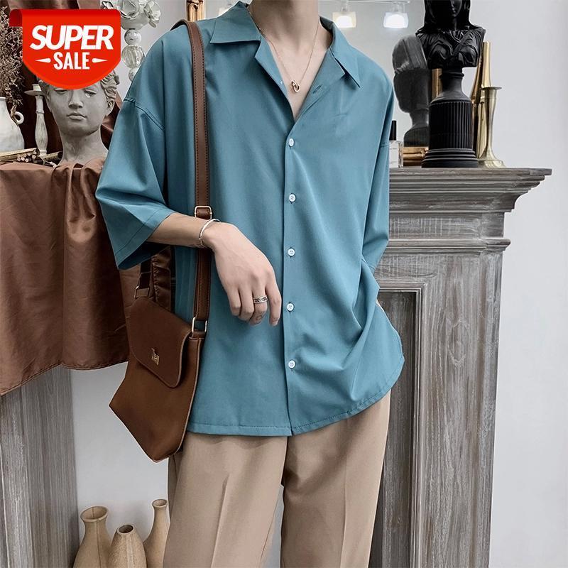 2020 erkek yedi bölüm kol takım elbise yaka hawaiian gömlek fransız manşet erkek marka giysileri moda gömlek camisa masculina 4 renk # t65h