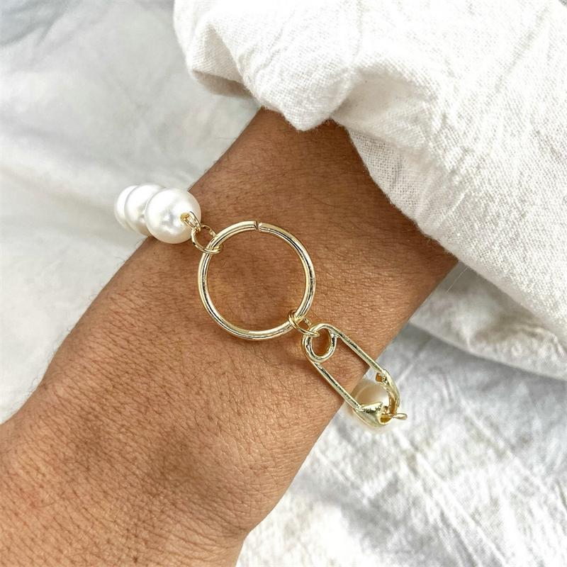 Charm Bracelets 5247 Hanzhishang Pearl Bracelet Creative Simple Gold Metal Paper Clip Circle