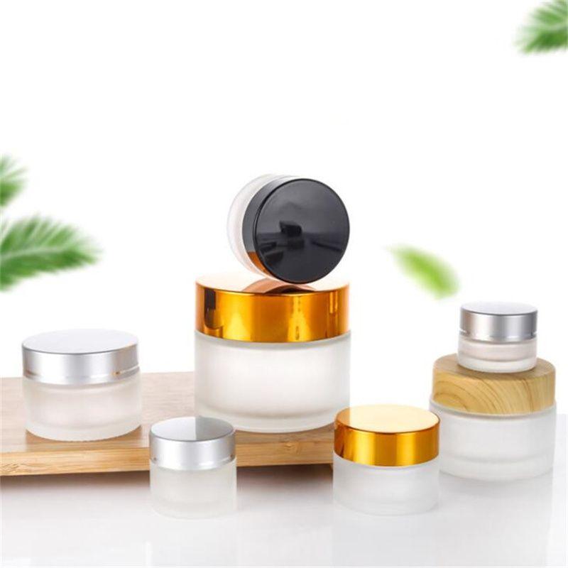 5G / 5 ml 10g / 10 ml Kozmetik Saklama Kabı Kavanoz Yüz Kremi Buzlu Cam Şişe Tenceresi Kapaklı ve İç Pad
