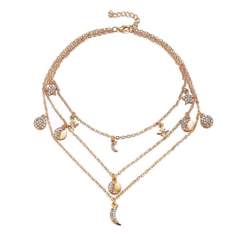 Vintage multi strati collana ciondolo multi-element crystal lungo boemia accessori per le donne partito moda oro argento regalo gioielli
