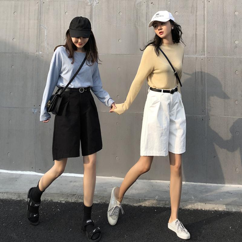 Şort kadınlar pamuk rahat katı cepler fermuarlar yüksek bel kısa sokak tarzı 2021 yaz kadın