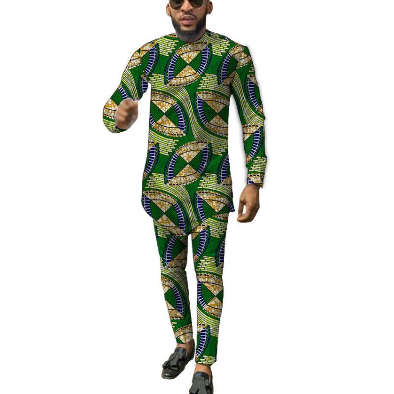 Distinctive Design Colorful African Fashion Tops+Trousers Men's Print Suits Wedding Party Nigeria Traditional Wear Ethnic Clothing