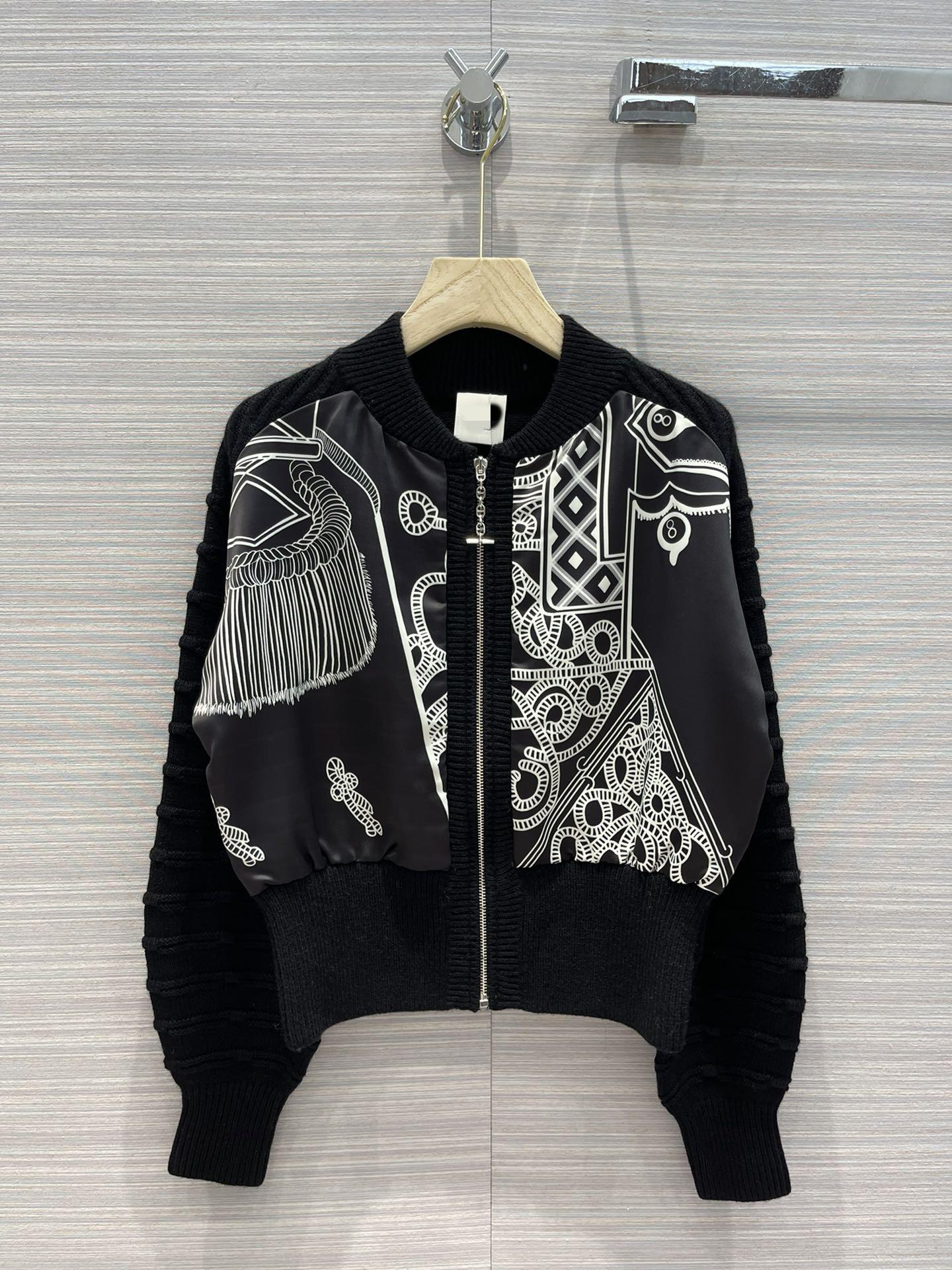 Milan Pist Ceketler 2021 Sonbahar Uzun Kollu O Boyun Panelli Baskı Kadın Tasarımcısı Marka Aynı Stil Coats 0706-3