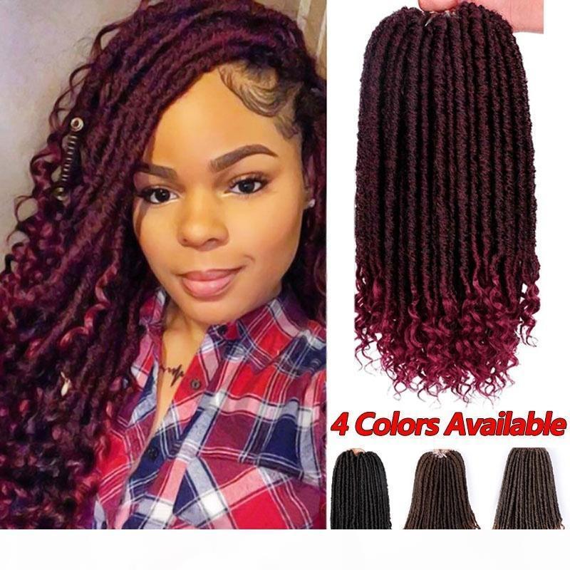 3pack Moda Kadınlar Tanrıça Locs Tığ Saç Kıvırcık Sonu Ile 1 Packs Lot 16 inç Faux Locs Sentetik Örgü Saç Uzantıları