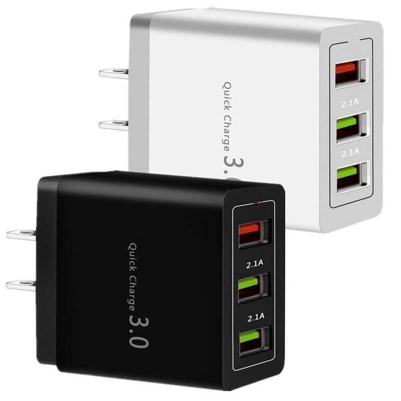 QC3.0 3 USB 18W سريع الشحن السريع EU الولايات المتحدة الجدار شاحن محول الطاقة لسامسونج S8 S9 S10 HTC