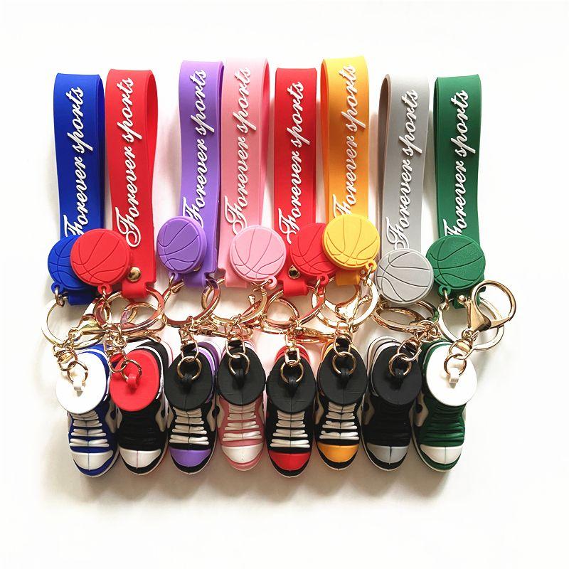 Sneaker scarpe da basket portachiavi cinghie cinghie 3D stereo scarpa sportiva in PVC catena portachiavi portafoglio portafoglio pendente pendenti pendenti regalo