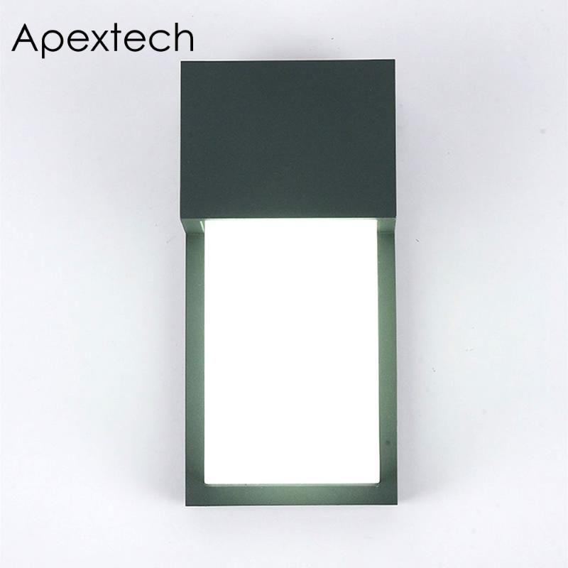 مصابيح الحائط في الهواء الطلق Apextech المصباح الألومنيوم الحديث 6W IP65 شرفة ماء ضوء حديقة كورتيارد AC85-265V الشرفة
