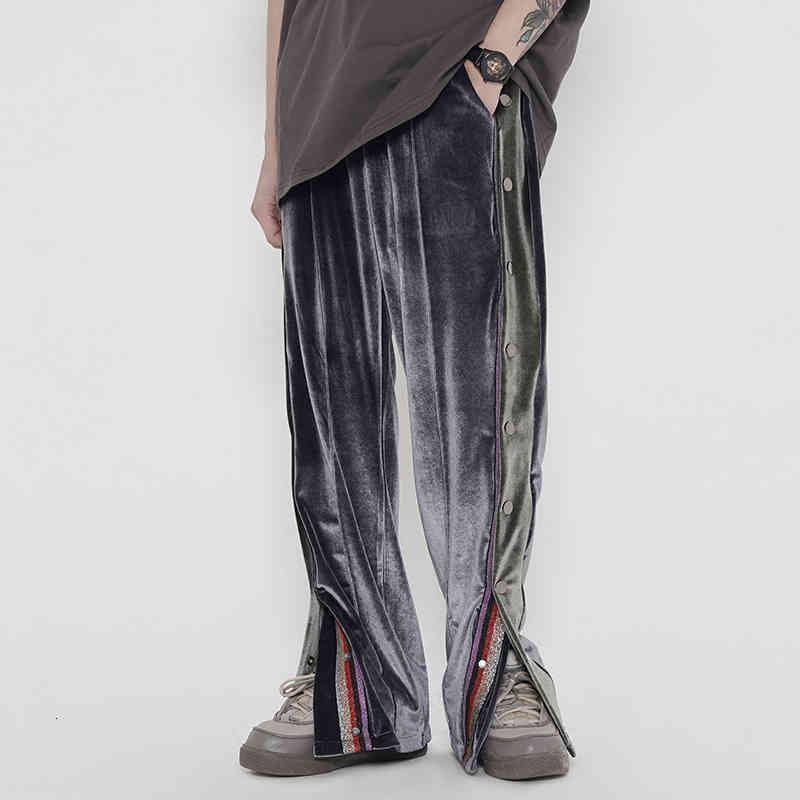 Calças masculinas Colorido Botão Side Botão Veja Calças Casuais Homens e Mulheres Straight Veet Lanes High Street, Baggy