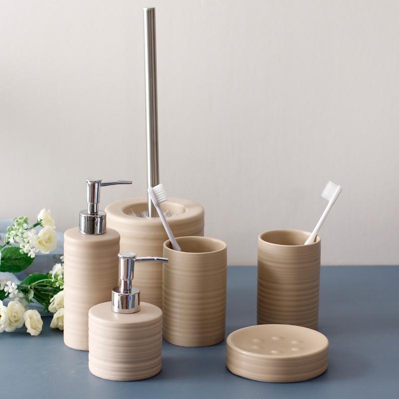Ceramic Bathroom Accessories 5pcs Washroom Set Soap Dispenser/Toothbrush Holder/Tumbler/Soap Dish Wedding Gifts 122609 Bath Accessory