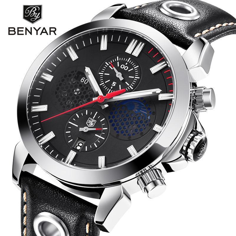 Erkek Saatler Spor / Askeri Rahat İzle Lüks Iş Marka Deri Khronograph Saat Relogio Masculino Saatı