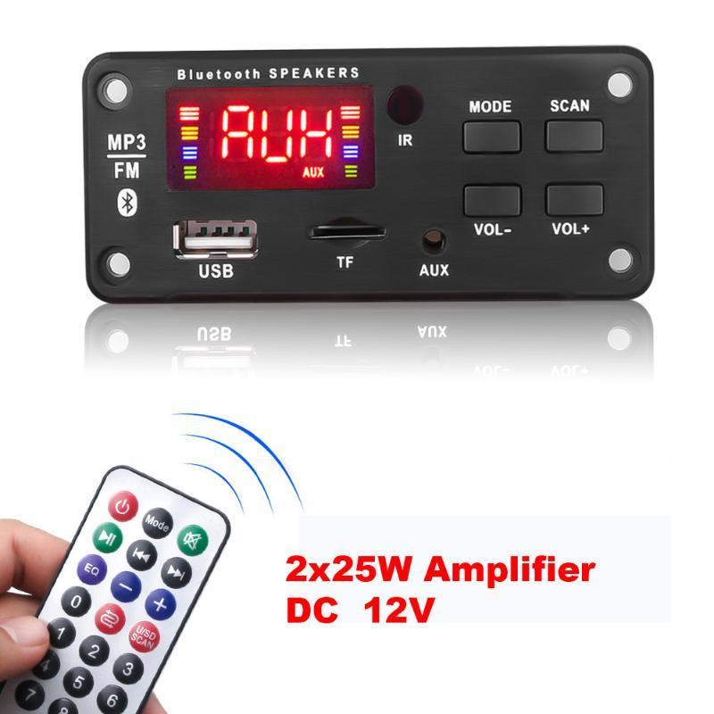 MP4 jogadores 12V * 50W MP3 decodificador placa de cor bluetooth v5.0 jogador de carro USB módulo de gravação FM AUX rádio para alto-falante