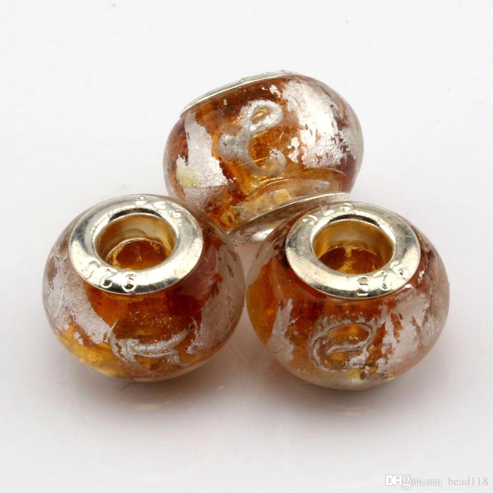 "100 st Kaffe Guldfolie Alfabet ""E"" Lampwork Glas Big Hole Spacers Pärlor för smycken gör armband Halsband DIY Tillbehör"
