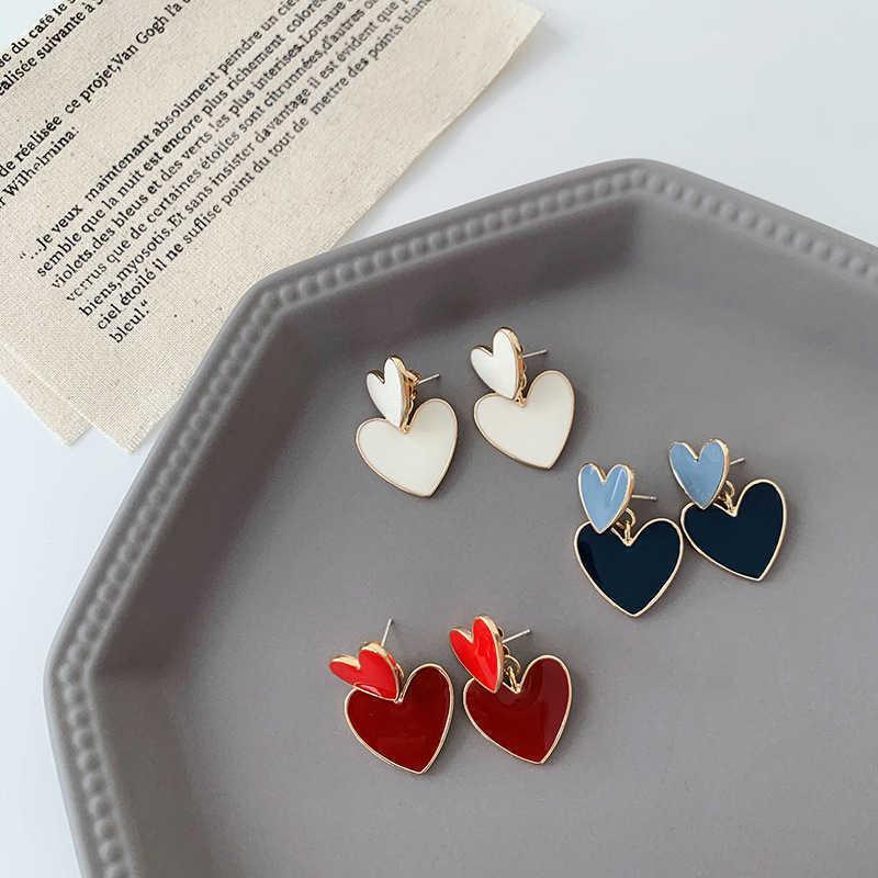 Minimalista esmalte colocado brincos de coração para mulheres menina de metal vermelho azul branco amor coração pendurado brinquedo brando jóias y0709
