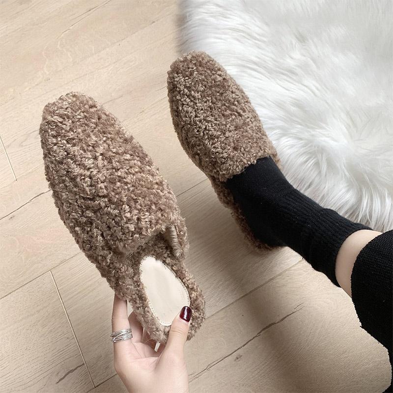 الشتاء المرأة النعال الدافئة امرأة حذاء داخلي حليقة الفراء الشرائح السيدات فليب يتخبط الشقق الراحة lambswool كسول 2021