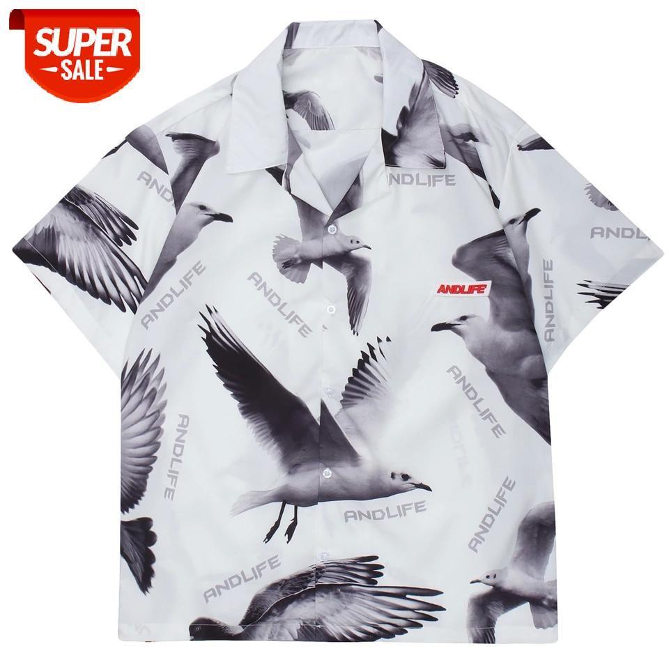 Hip Hop Gömlek Erkek Kadın 2021 Yaz Barış Güvercin Baskı Harajuku Boy Kısa Kollu Gömlek Casual Streetwear Pamuk Gevşek Tops # 5e5u