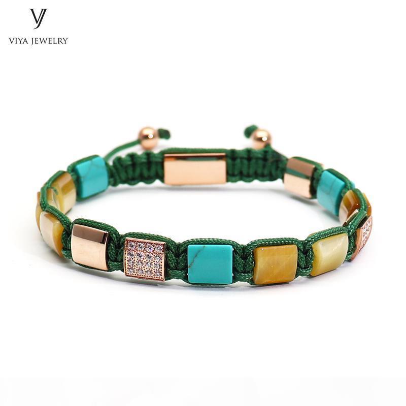 Luxury Gold-color Men Bracelet Golden Tiger Eyes Square Beads & Pave Setting Beads Braided Macrame Bracelet Jewelry For Men Gift