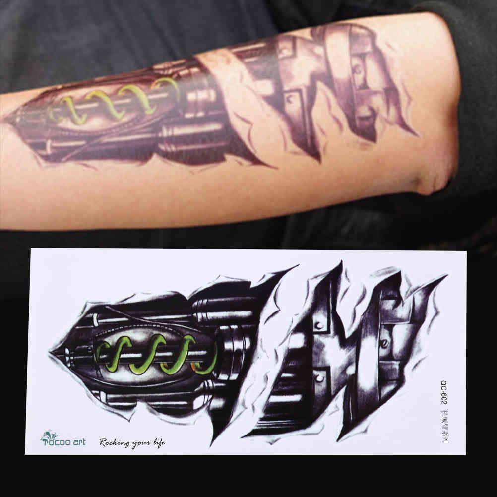 21 * 10 cm Tatouage de tatouage temporaire Designs Bras Tatouages imperméables pour hommes Cool Femmes Stickers Tatouages transférables sur le corps Art