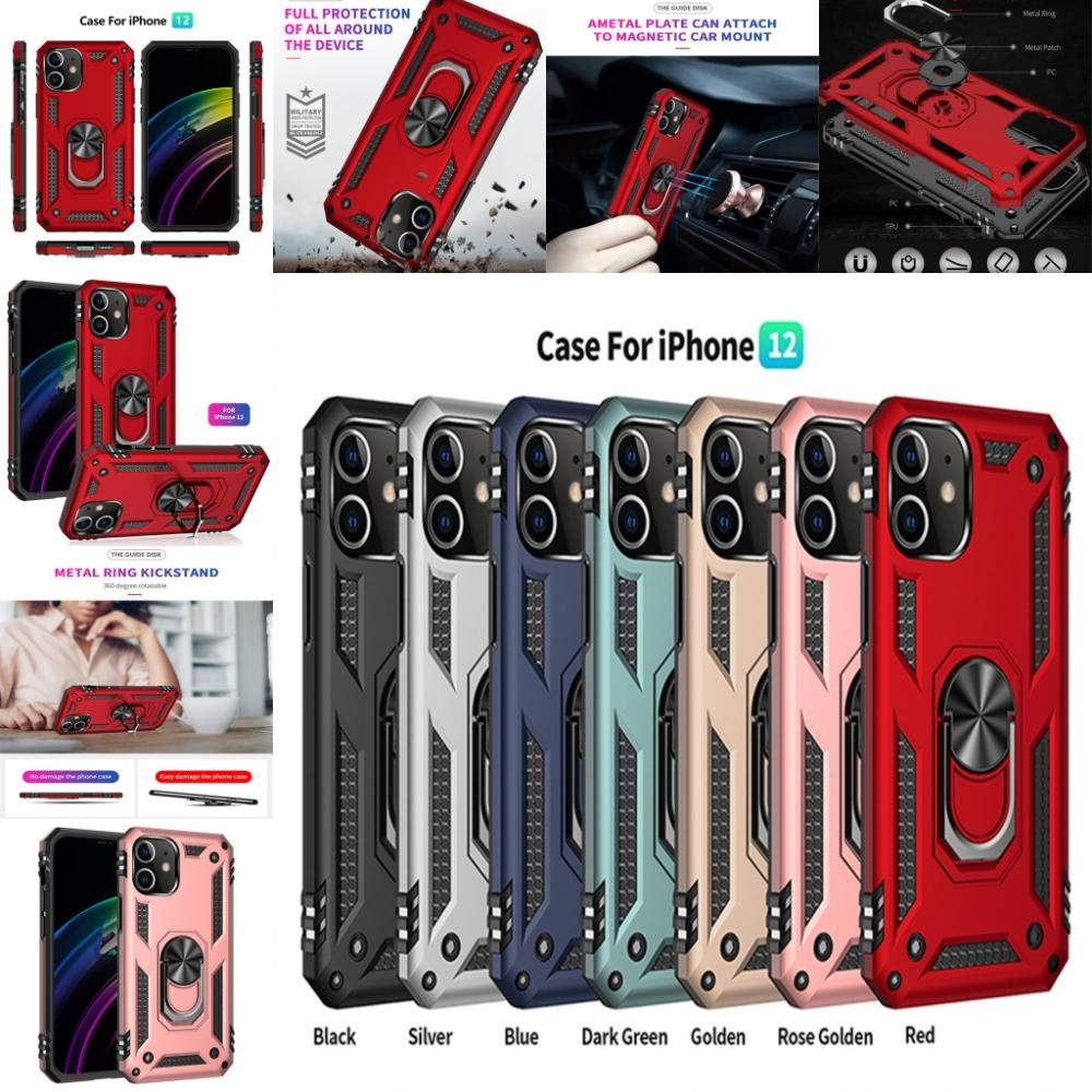 Shockproof Armor Phone Case For iPhone 12 11 Pro XR XS Max X 6 7 8 Plus Magnetic Finger Ring Anti-Fall Cover