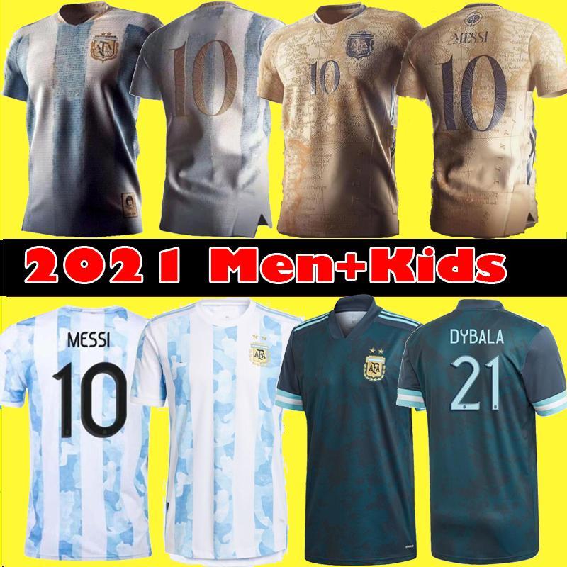 팬 플레이어 버전 2021 아르헨티나 메시 축구 유니폼 디에고 Maradona 기념 1986 남자 키즈 Dybala Aguero 축구 셔츠 키트