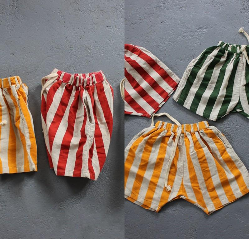 FM Ins Coreano Great Kids Girl Boys Stripes Shorts Summer Autunno Bambini in lino in cotone Great Quality Bambini Hot Jeans Pant Bloomerers per 803 x2