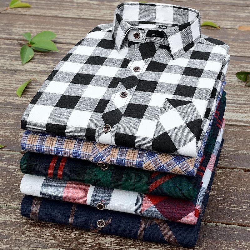 봄 남자 닦 았된 격자 무늬 긴팔 셔츠 비즈니스 캐주얼 패션 슬림 플러스 크기 스트라이프 남성 고전적인 브랜드 탑 남자 셔츠