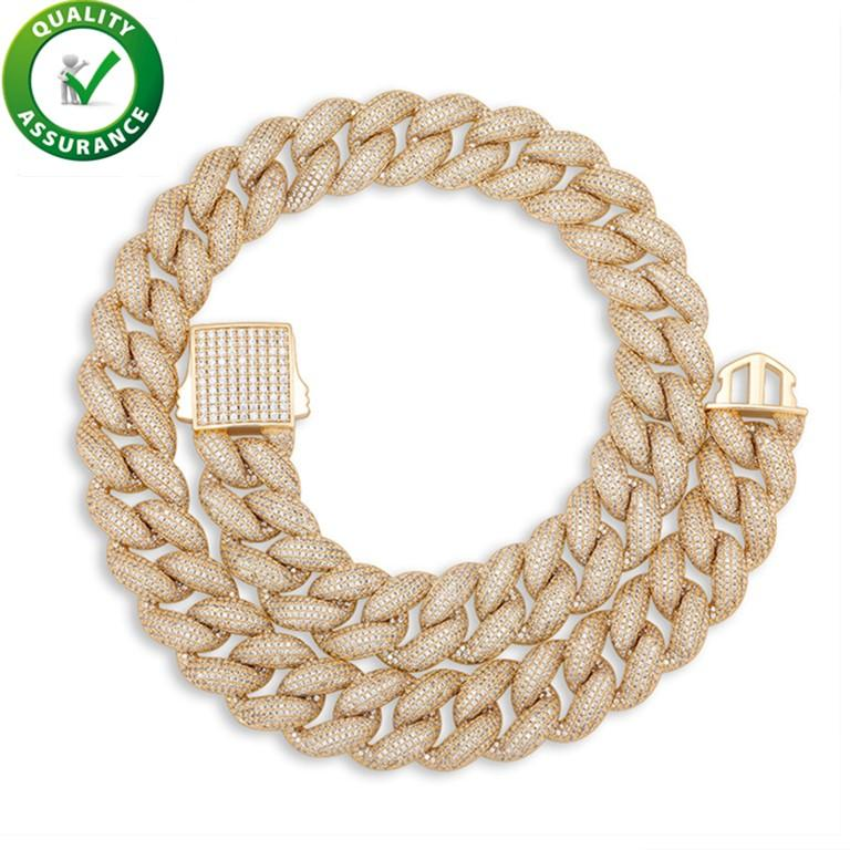 Mens 14k Gold Chains Iced Out Diamond Tennis Necklace Designer Jewelry Hip Hop Luxury Cubic Zirconia Cuban Link Chain Rapper Fashion Accessories 18mm Width Crude