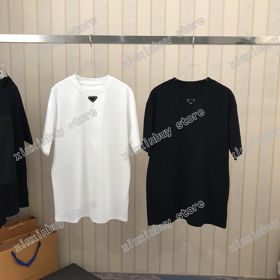 21SS Men Stampato T Shirt T-Shirt Polos Designer Collare Triangolo Tortino Pocket Parigi Vestiti da uomo Camicia da uomo Stile sciolto Black