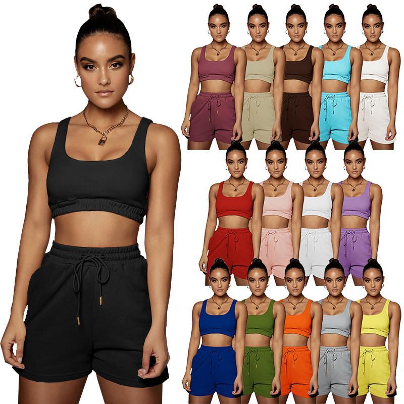 Summer Women Sexy Tracksuits Solid Débardeurs Solid Tops Courts Couts Plus Taille 2xl Top Top SweatSuits Vest Vêtements Vêtements Mignon Jogger Costume DHL 5175