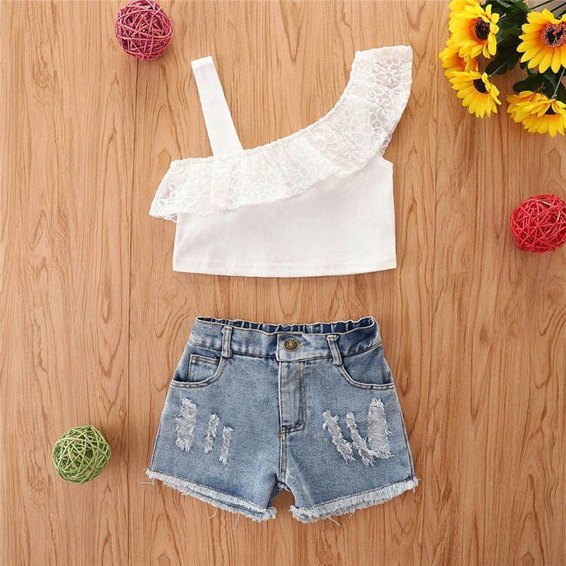 Baby Clothing Sets Girl Suit Outfits Kids Clothes Children Dress Summer Cotton Lace Tank Tops Denim Hole Jeans Shorts 2Pcs B5634