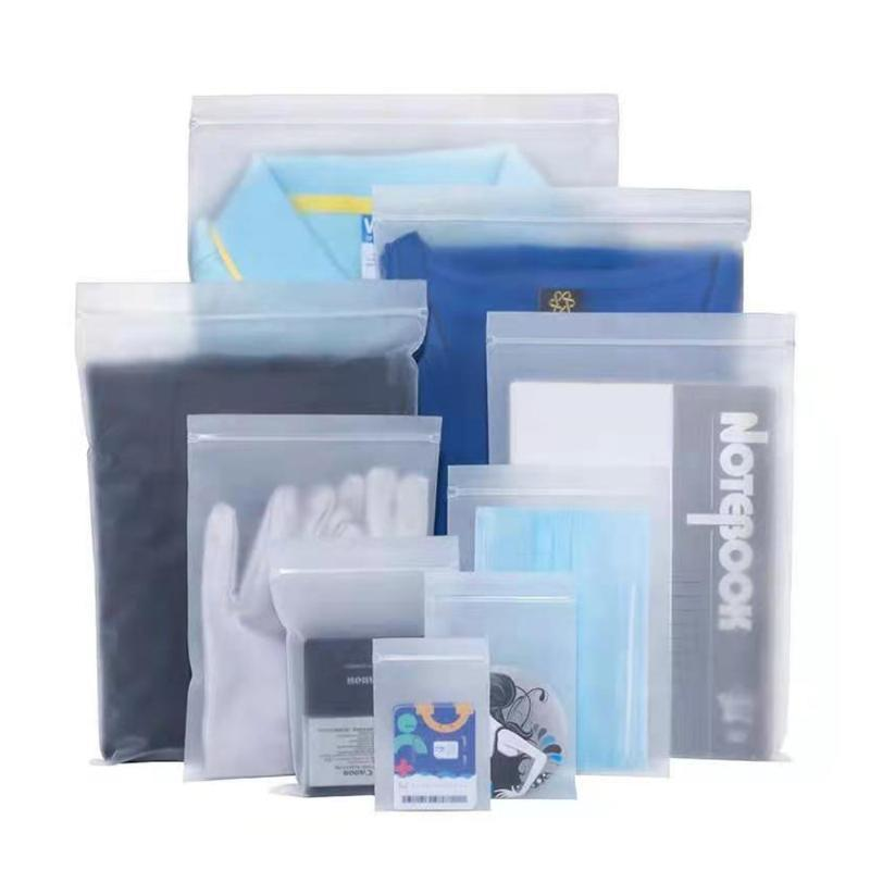 100 unids CPE PLÁSTICO MATE MATE CLEAR BOLSO AUTOAL SELLA RECLOSABLE COMPLETABLE CRAFT CRAFT ROPA DE ALMACENAMIENTO DE ALMACENAMIENTO COSMETICO