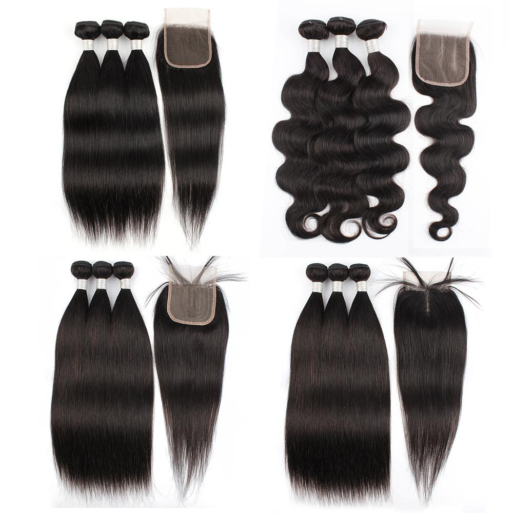 Paquetes de pelo rectos Remy con 4x4 4x1 Cierre de encaje Color natural onda corporal Brasileño Human Hair Extension