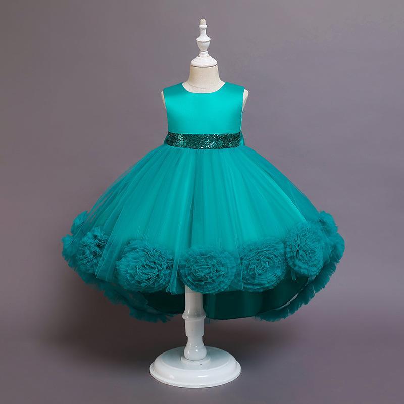 Goldenshield girl's Pageant Dresses Children grenadine flower fluffy sleeveless trailing piano performance dress super quality