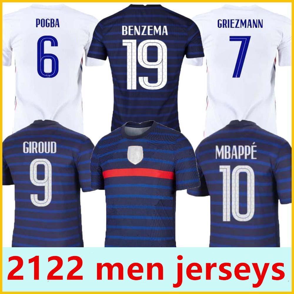 Erkekler 21 22 Futbol Formaları Griezmann Mbappe Kante Pogba Maillot De Ayak Maillots Futbol Ekipe F R POGB0A Boyut S-4XL