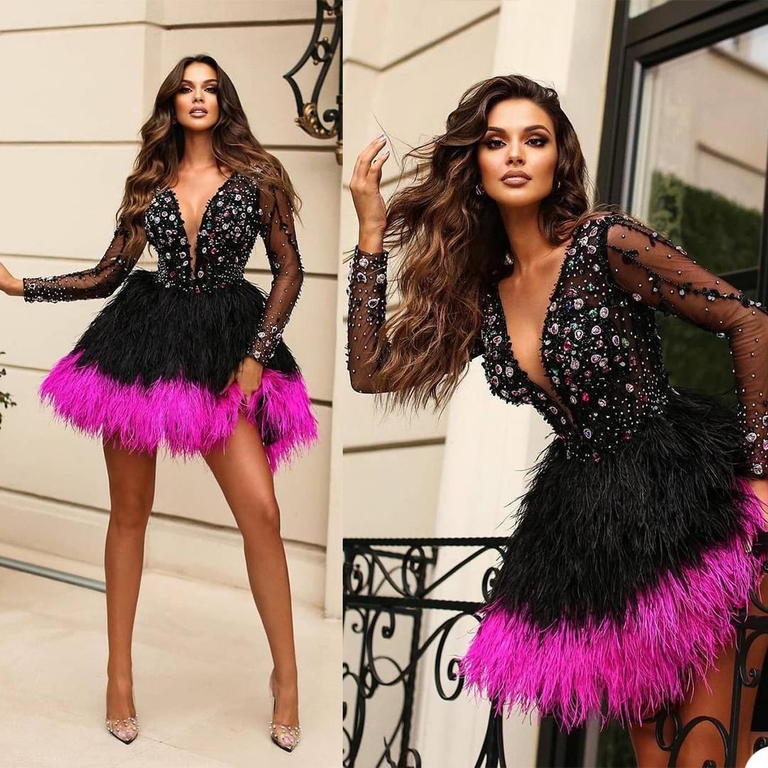 Sexy Mini Colorful Beading Prom Dresses Deep V Neck Crystal Long Sleeve Evening Gowns African Luxury Feather Party Club Wear Outfit