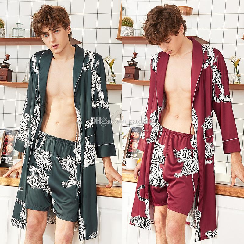 Fashion Mens Shorts Nightgown Suit Textile Printed Men Home Sleep Wear Summer Long Bathrobe Two Piece