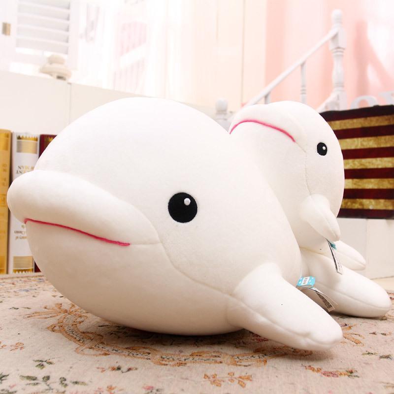 Plüschpuppenspielzeug, entzückender weicher Schaum, Partikel, weißer Wal, ausgestopfte Delphin-Puppe, kreatives Geschenk, schicken Mädchen.